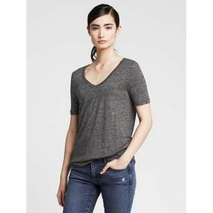 BANANA REPUBLIC 100% Linen V-Neck T-Shirt